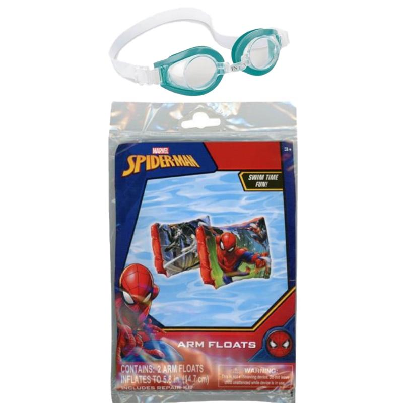 Marvel Spider-Man Swimming Arm Floats and Goggles