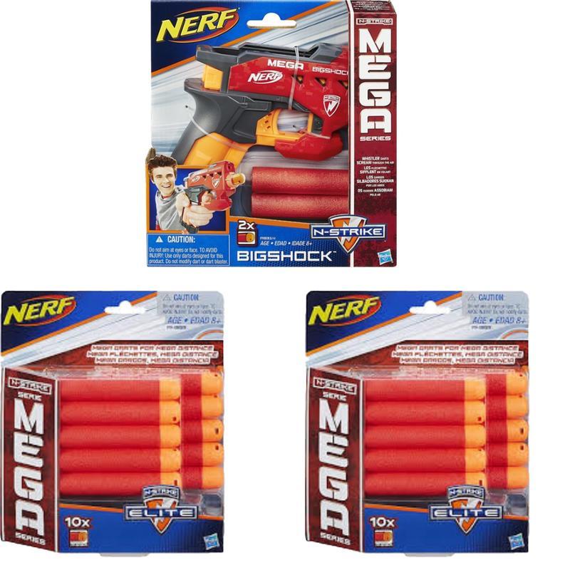 Nerf N-Strike Mega BigShock Blaster with 2 refill packs