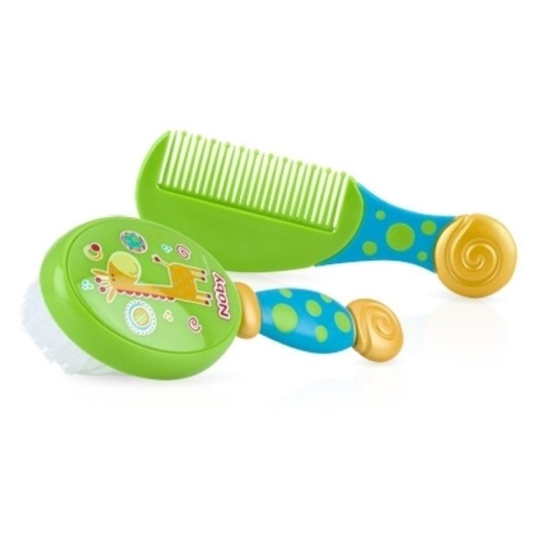 Baby Comb and Brush Set, Green