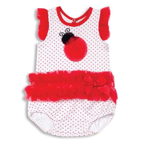 Organza Ruffle Ladybug Baby Bodysuit 3-6 Months