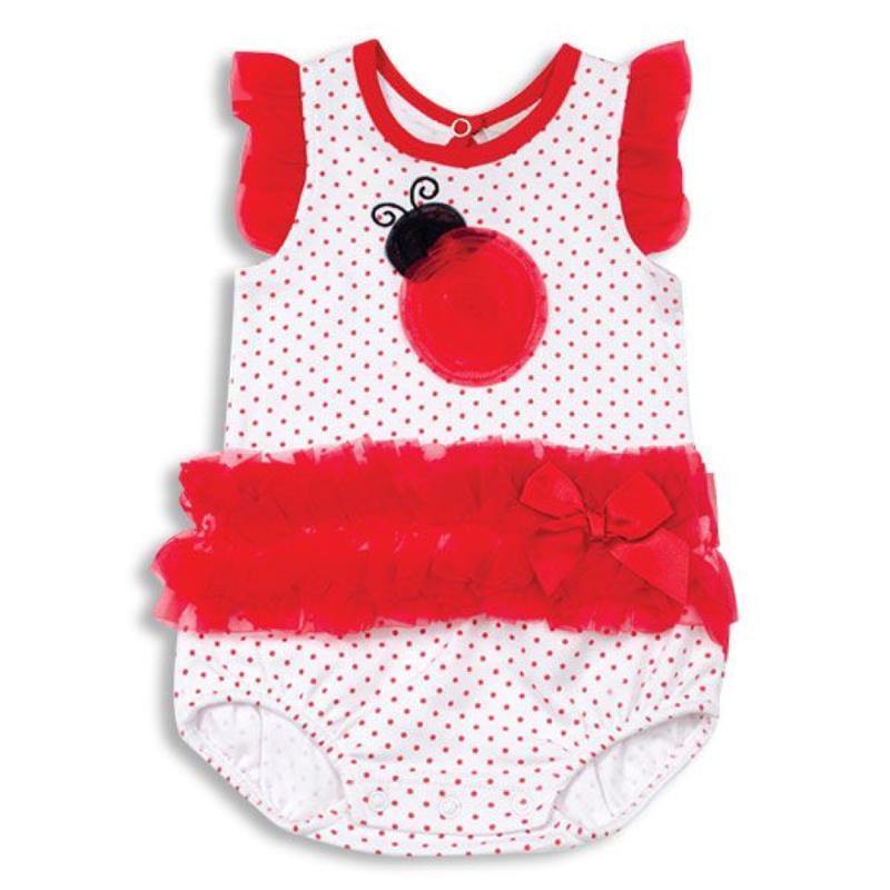Organza Ruffle Ladybug Baby Bodysuit 0-3 Months