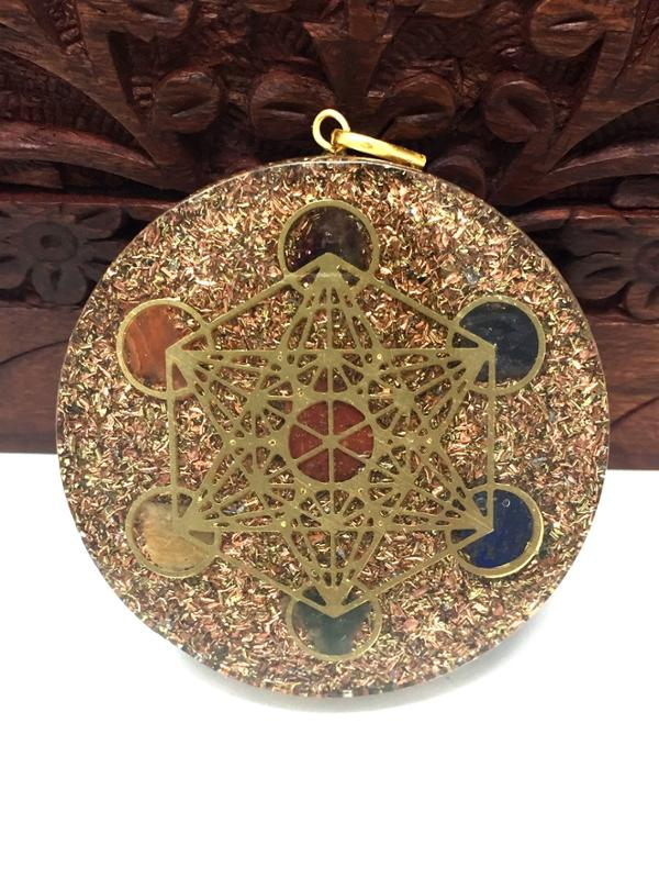 Orgone Metatron Chakra Pendant in Hand Carved Rosewood Elephant Jewelry Box Gift Set