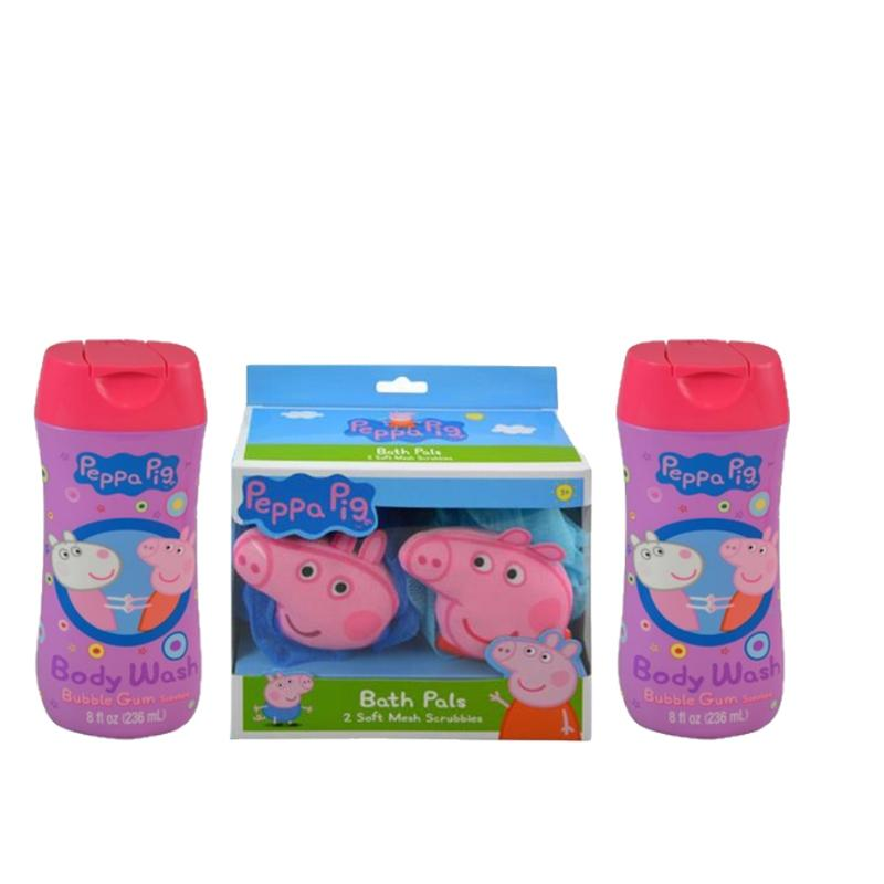 Peppa Pig 2 Bath Loofahs and 2 Bubble Gum Body Wash