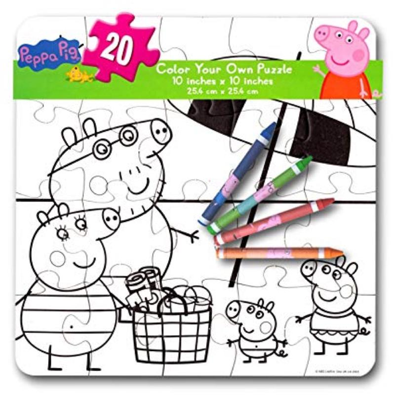 Peppa Pig Color Your Own Large Puzzle with 4 Crayons