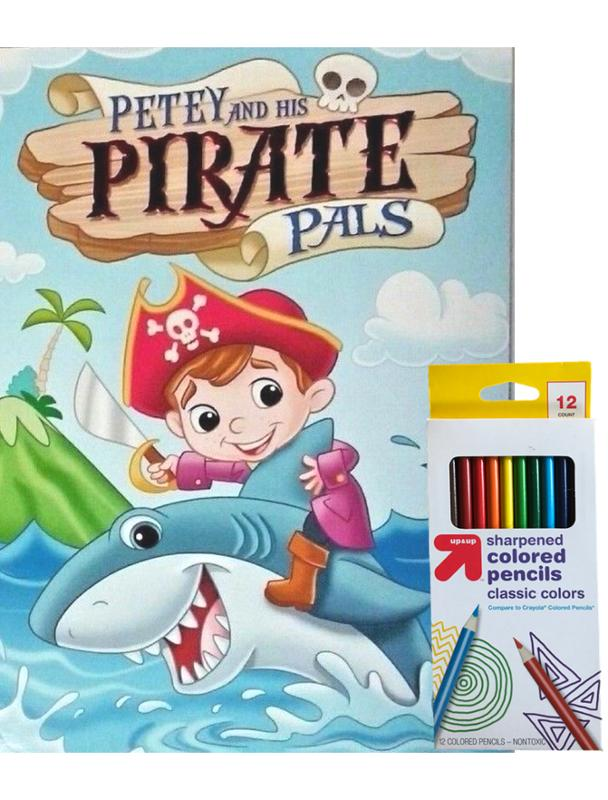 Petey and the Pirate Pals Coloring and Activity Book and Colored Pencil Set