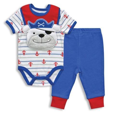 Pirate Dog 3 pc Bodysuit Pant & Bib 0-3 Months