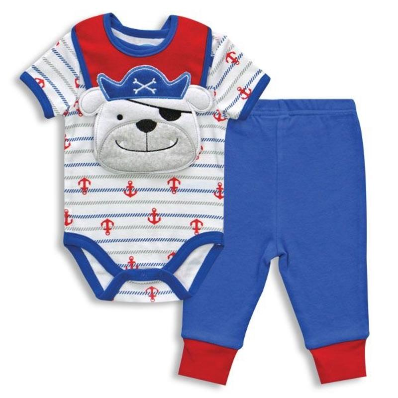 Pirate Dog 3 pc Bodysuit Pant & Bib 3-6 Months