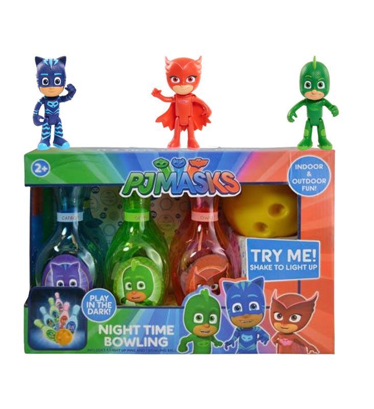 PJ Masks Owlette, Gekko, Catboy Action Figures and Light Up Bowling Set, 4 pc Gift Set