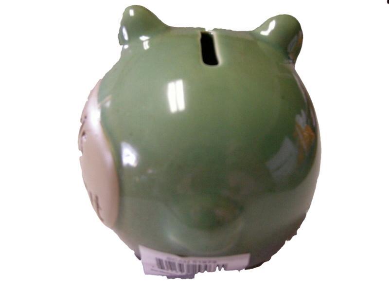 4.5 Inch Pottery Piggy Bank Casino Money