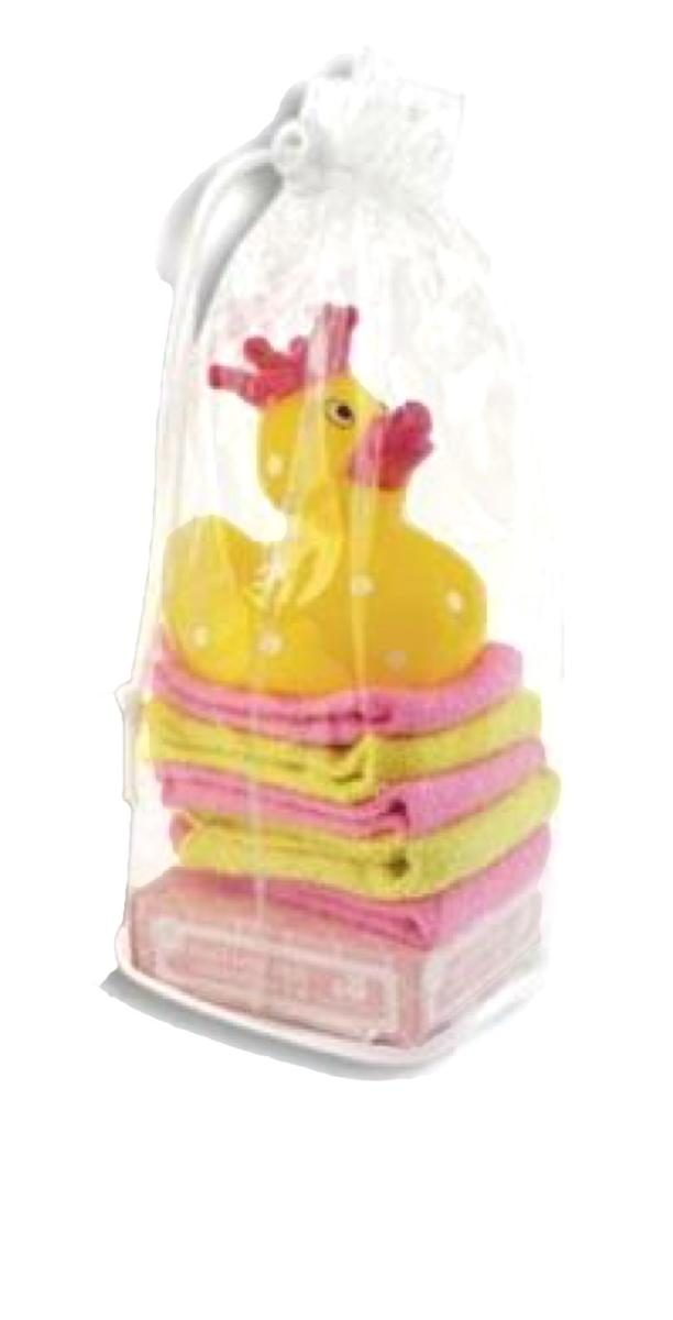 Princess Bath Time Rubber Duck with Washcloths