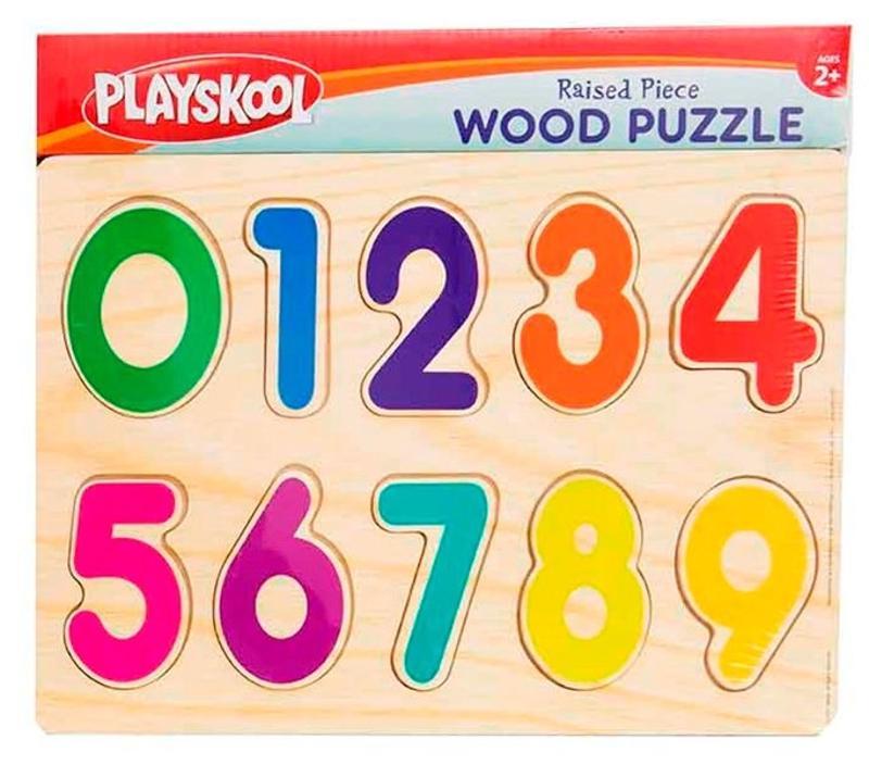 Raised Piece Wood Numbers Puzzle