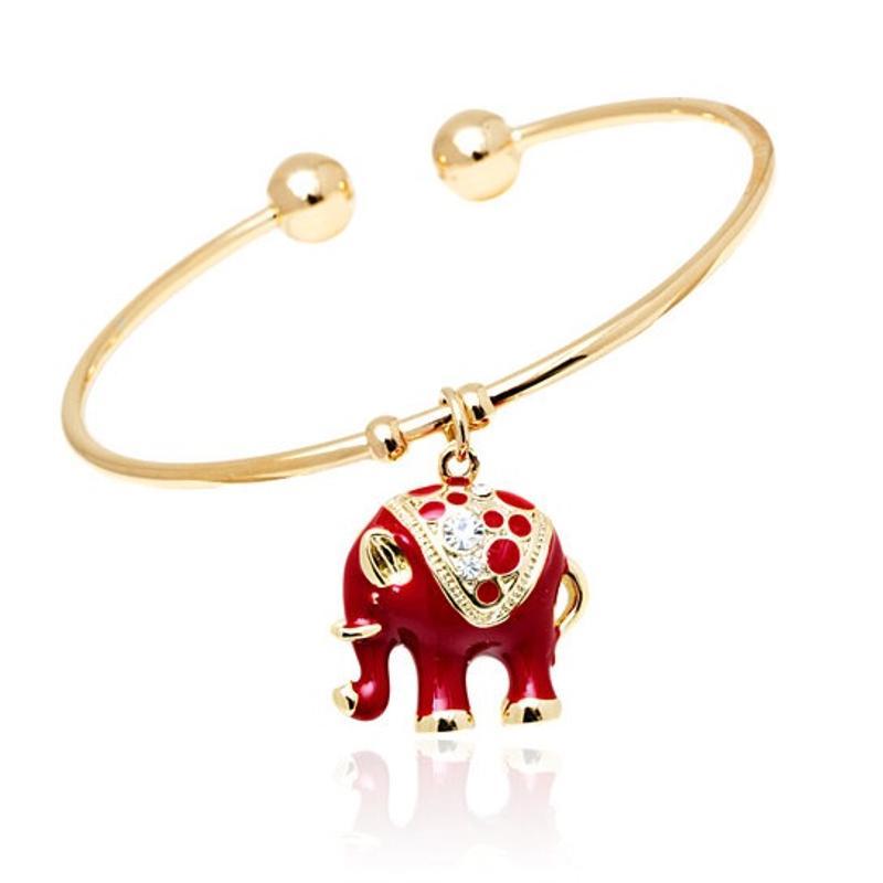 Red Crystal Elephant Bangle Bracelet