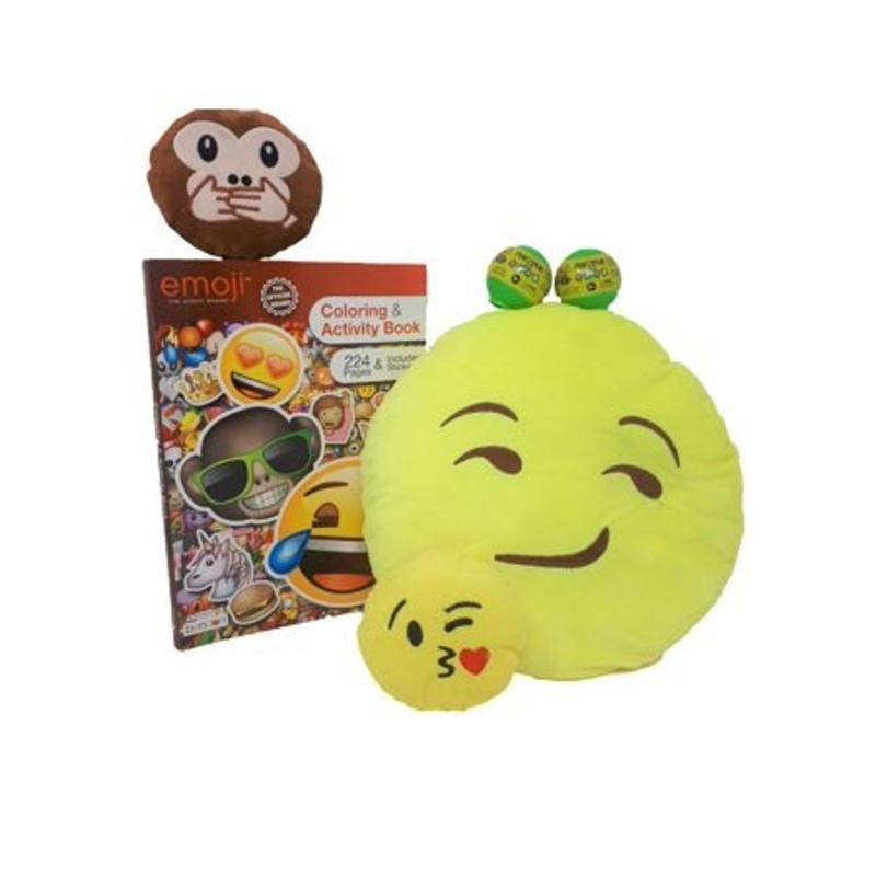 Emoji Activity Book, 2 Emoji Squishiez, Pillow, and 2 Key Chains Gift Set