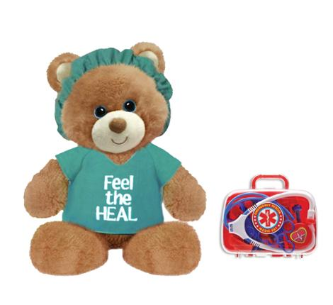 Feel the Heal Green 11 Inch Bear with Emergency Rescue Medic Kit