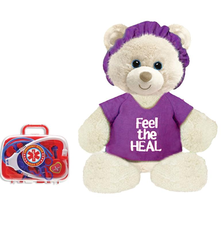 Feel the Heal Purple 11 Inch Bear with Emergency Rescue Medic Kit Get Well Soon