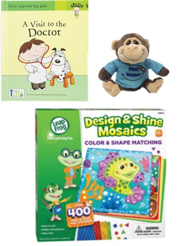 Get Well Gift Set, Plush Monkey, Mosaic Set-Animal Sticker Activity and A Trip to the Doctor Book 3 Piece Set