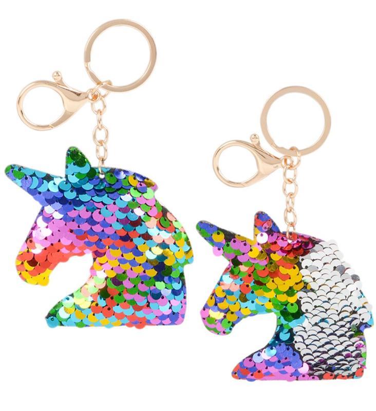 Rhode Island Novelty Unicorn Flip Sequin Keychain - 2 Pack