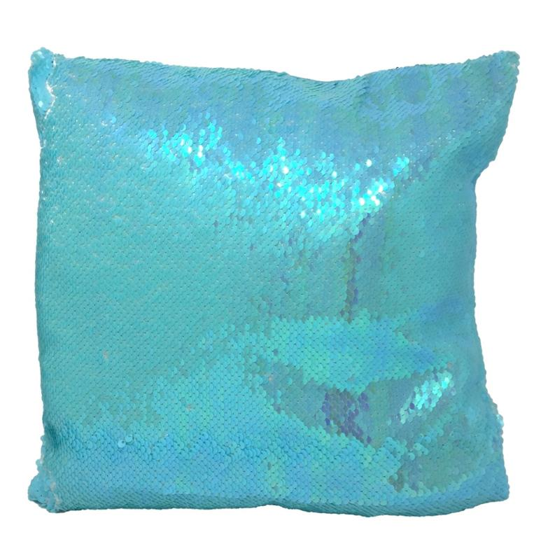 Sequin Reversible Pillow Blue 12 Inches