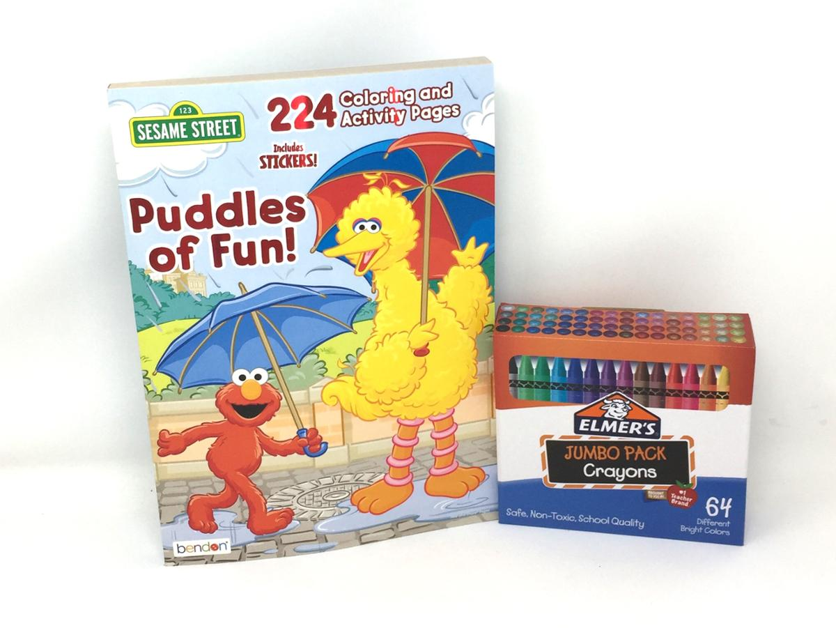 Sesame Street Puddle of Fun Coloring Activity Book and Jumbo Pack 64 Crayons