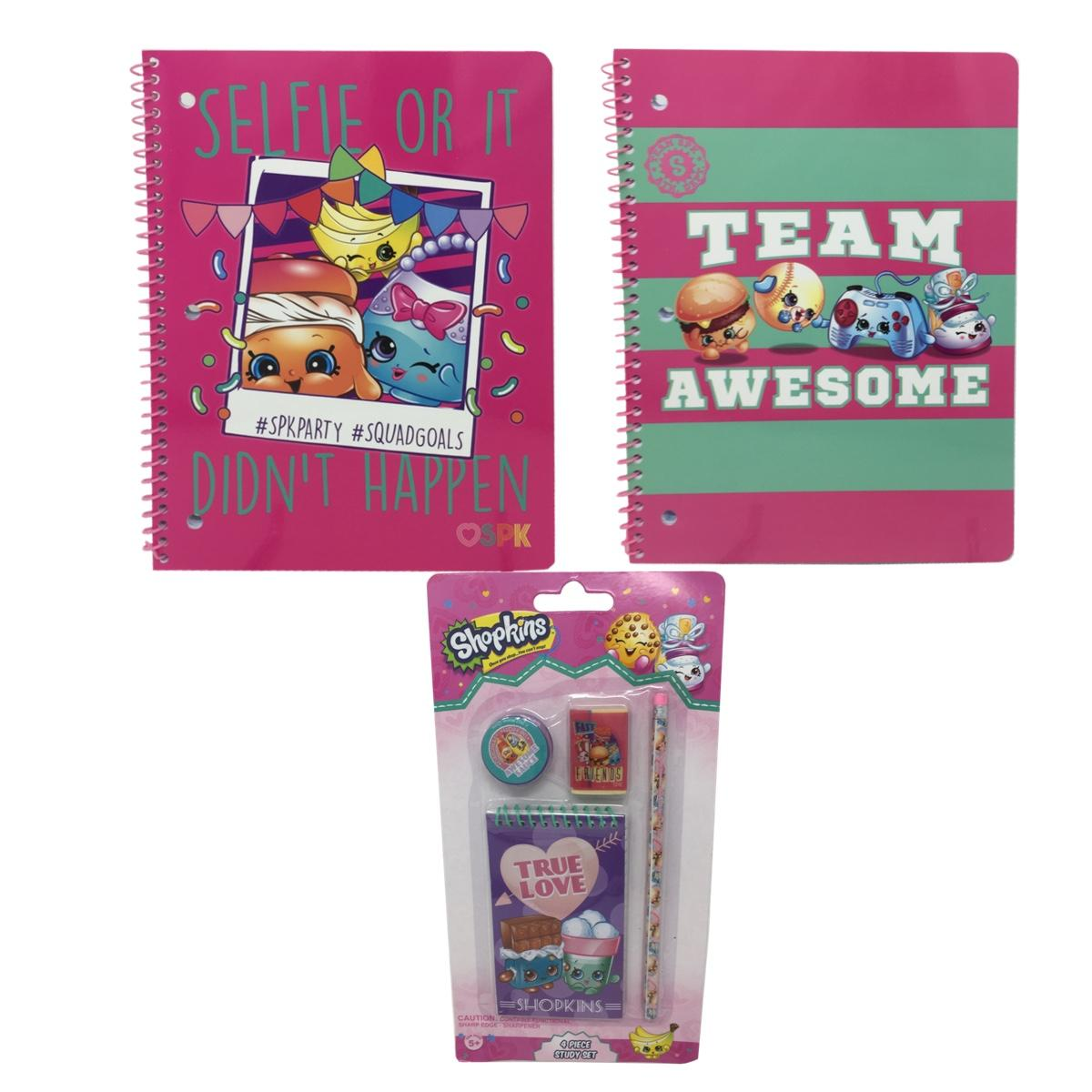 Shopkins 2 Pack Single Subject Notebook and 4 Piece Stationery Set