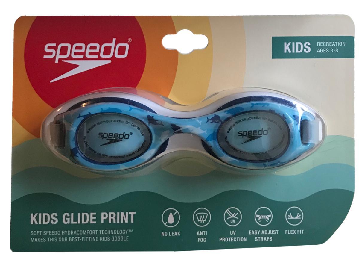 Speedo Kids Glide Print Blue and White Sharks Goggles