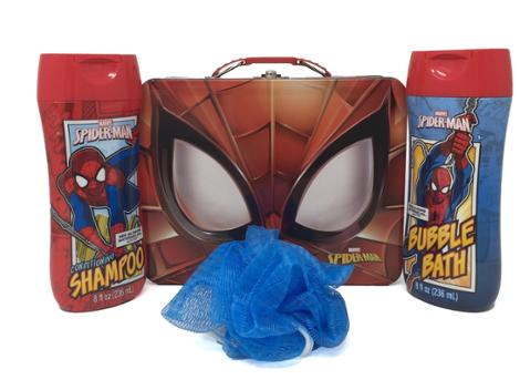 Spider-Man Themed Bath Bundle, Shampoo, Bubble Bath and Pouf in a Tin, 4 Piece Set