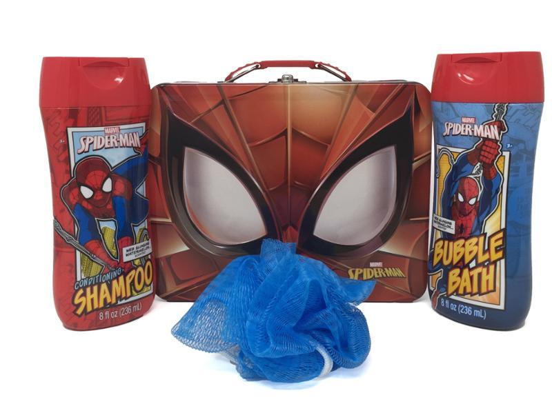 Spider-Man Themed Bath Bundle, Shampoo, Bubble Bath and Pouf in a Tin, 4 Piece Set