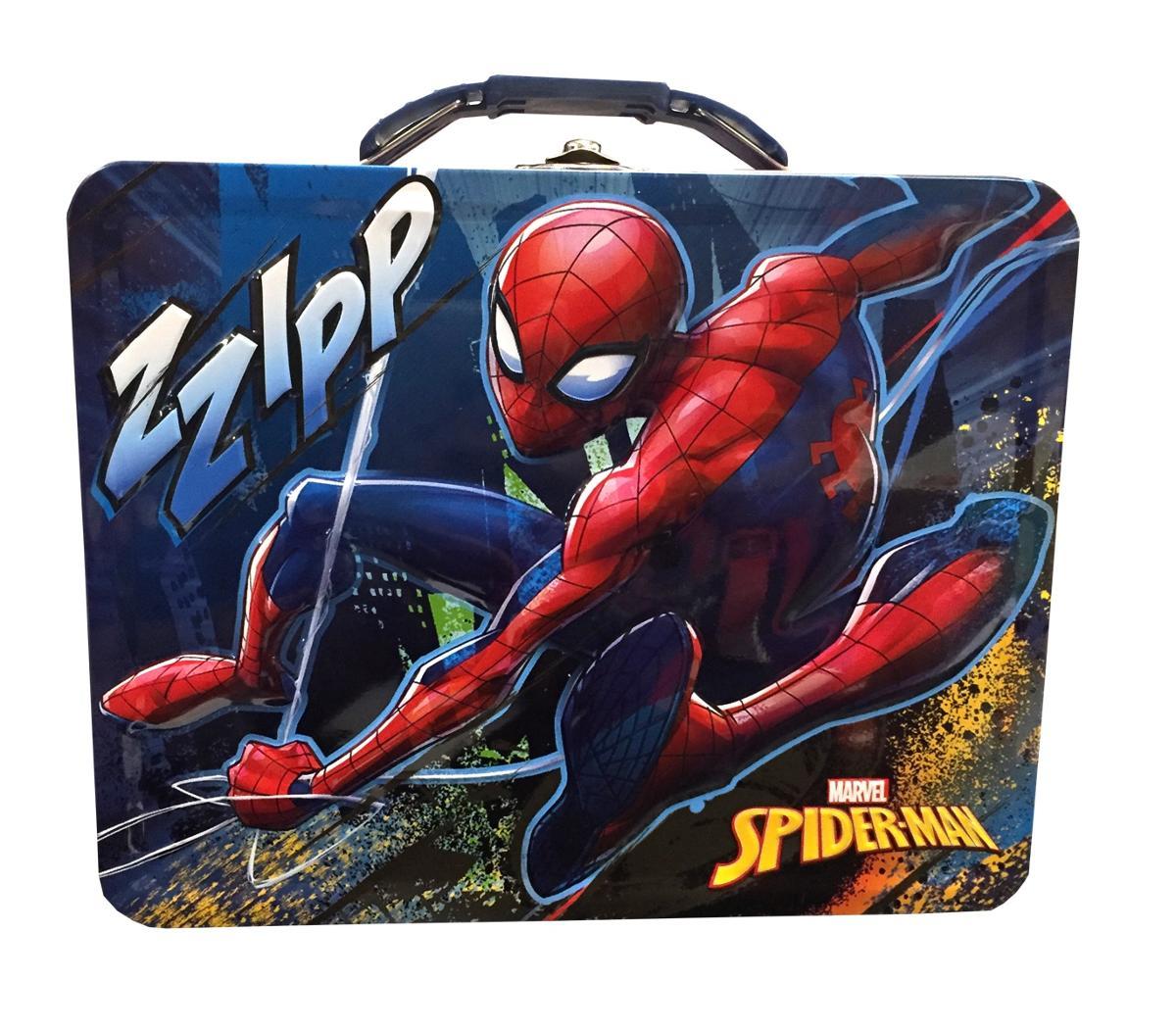 Spider-Man Embossed Lunch Storage Tin Blue