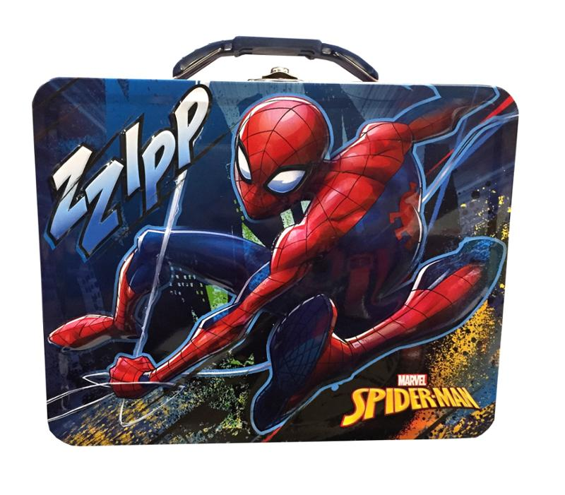 Spider-Man Themed Bath Bundle, Shampoo, Body Wash and Pouf in a Tin, 4 Piece Set