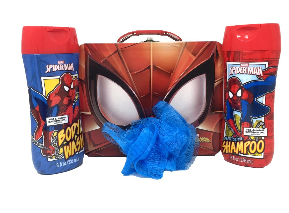 Spider-Man Themed Bath Bundle, Shampoo, Body Wash and Pouf in a Tin, 4 Piece Set