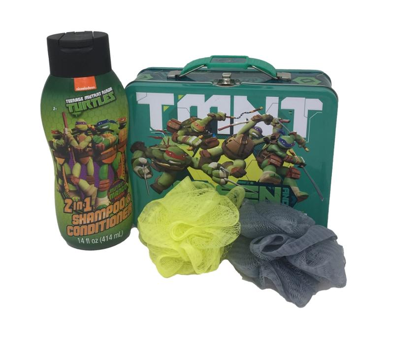 Teenage Mutant Ninja Turtles 4 Pc Bath Set - Tin Lunch Box, 2 In 1 Shampoo Conditioner and Bath Loofas