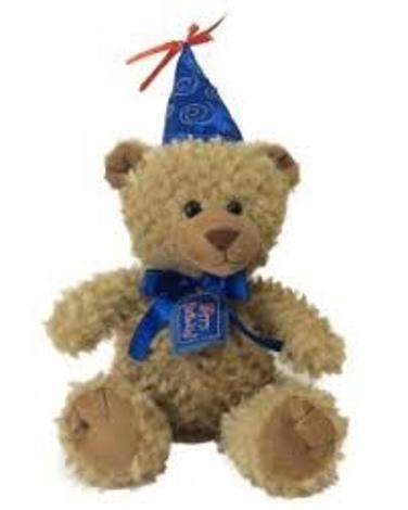 Birthday Teddy Bear Stuffed Animal - Party Hat - Brown Blue