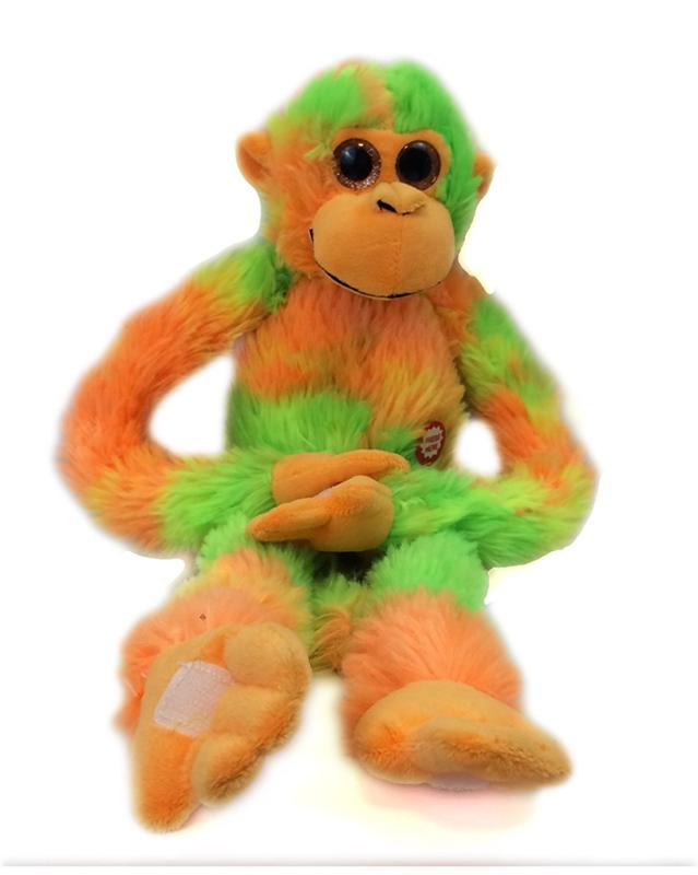Tie Dye Screeching Monkey with Velcro Hands, Orange Green, 18 Inch