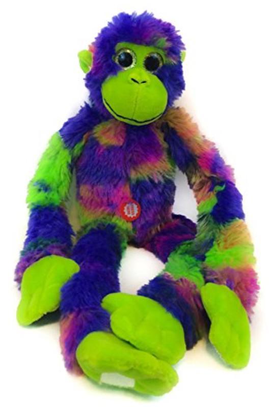 Tie Dye Screeching Monkey with Velcro Hands - Purple Green - 18 Inch