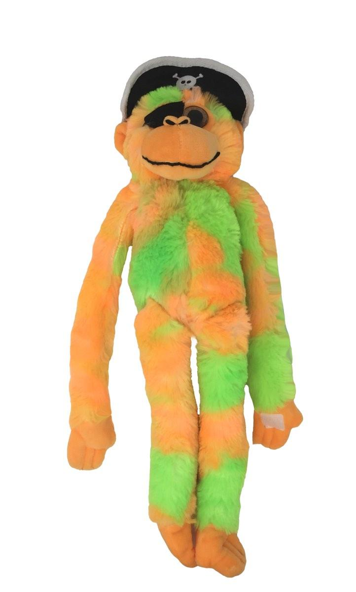 Tie Dyed Orange and Green Pirate Monkey 20 Inches