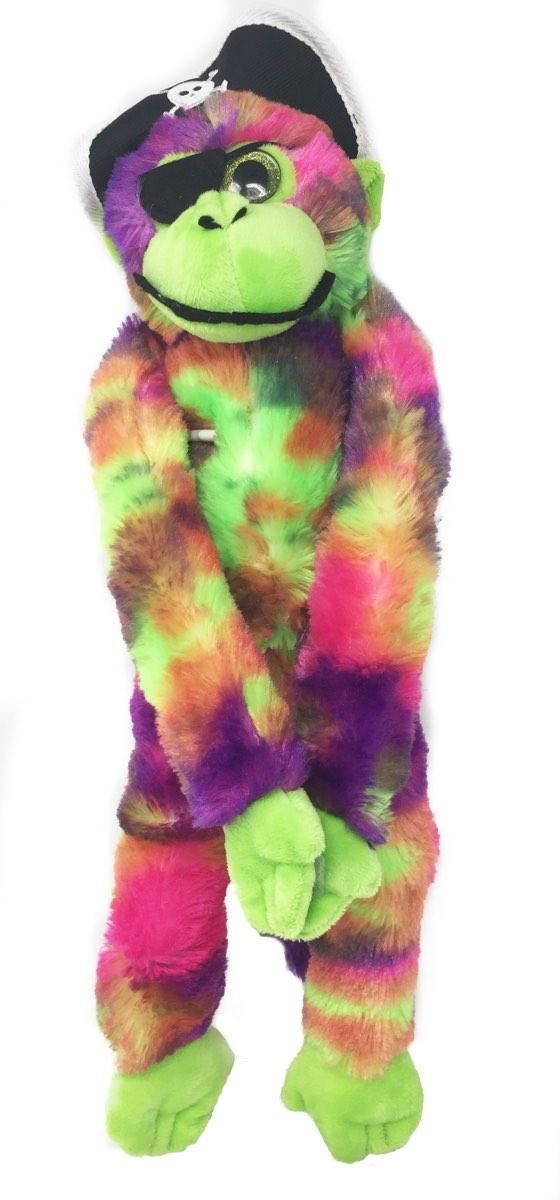 Tie Dyed Purple and Green Pirate Monkey 20 Inches