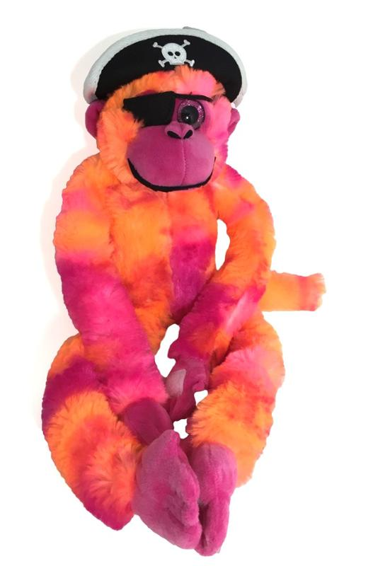 Tie Dyed Pink Pirate Monkey 20 Inches
