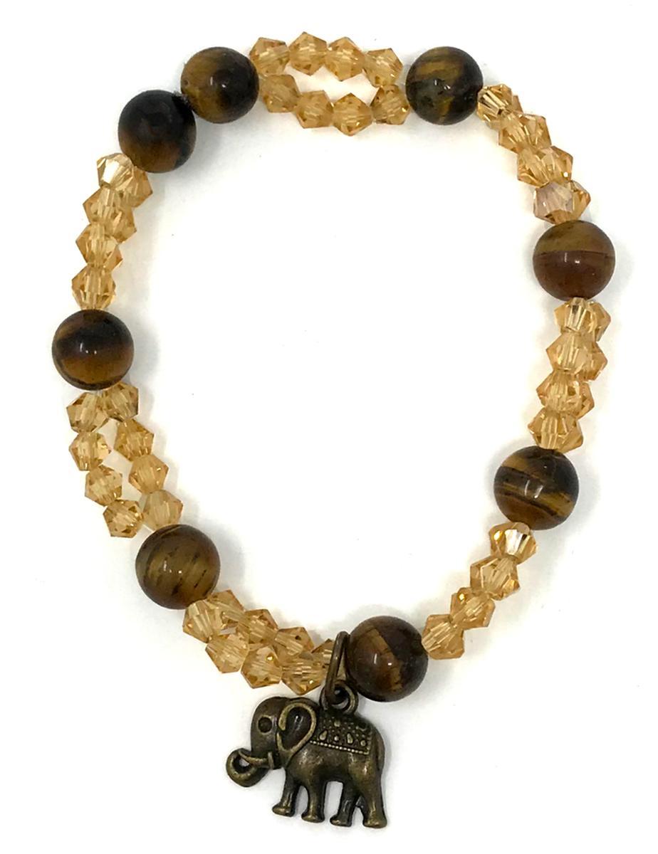 Handmade Tigers Eye Elephant Bracelet