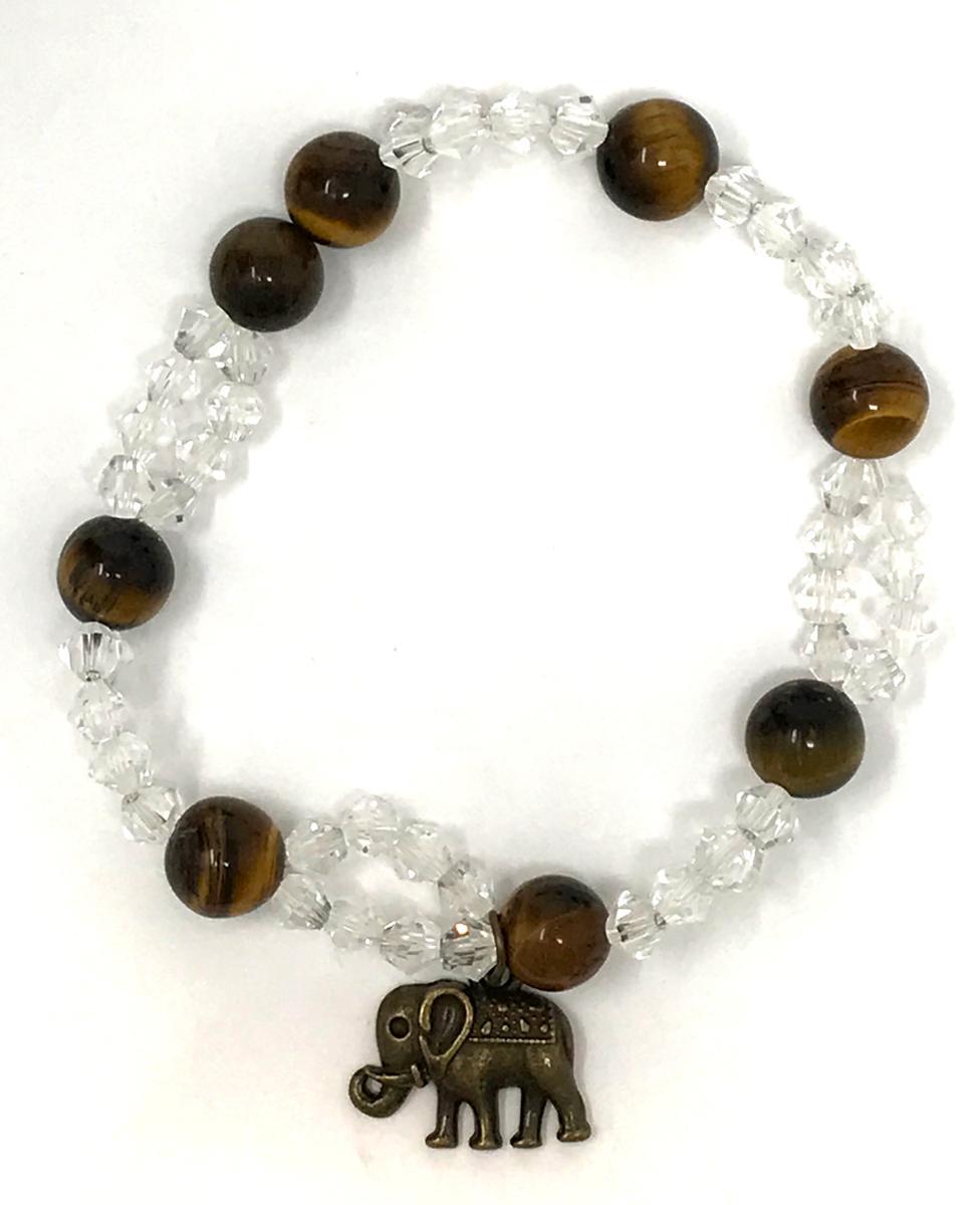 Handmade Tiger's Eye Elephant Stretch Bracelet
