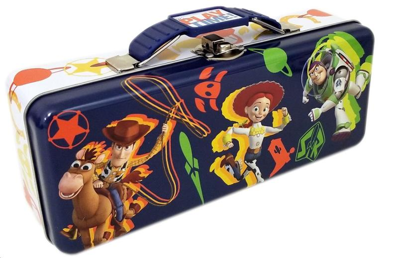 Toy Story 4 Tin Tote/Pencil Box with Handle and Clasp