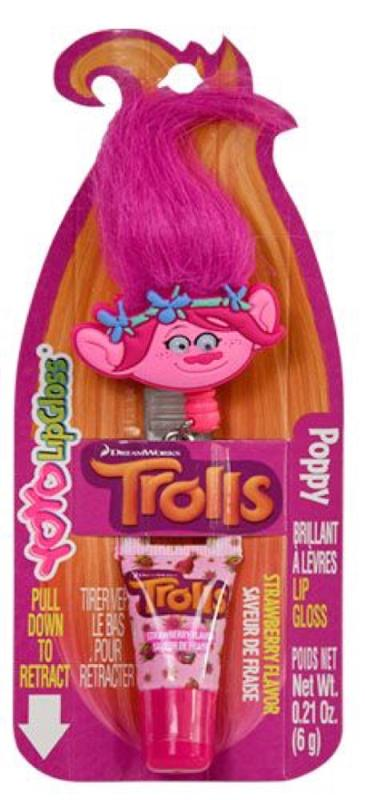 Troll YoYo Retractable Lip Gloss Poppy Strawberry Flavor