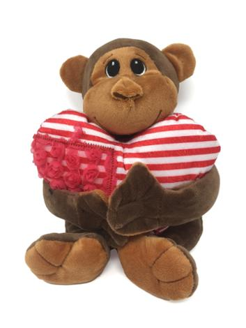 Valentine Hanging Monkey With Heart Pillow Gift Set