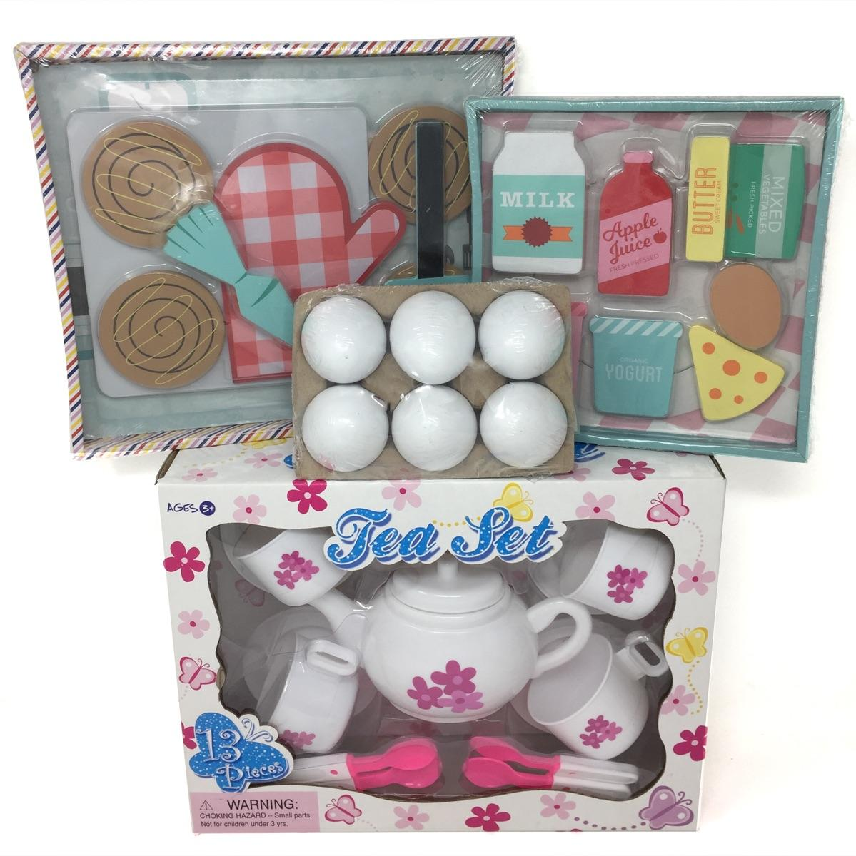 Wooden Play Food and Tea Set 35 Pieces