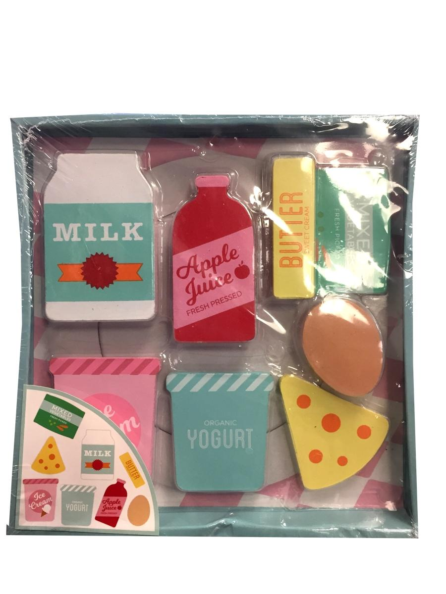 Wooden 8 Piece Play Food Dairy Set