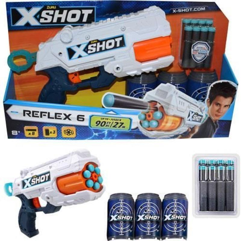 X-Shot Excel Reflex 6 with 3 cans and 8 darts