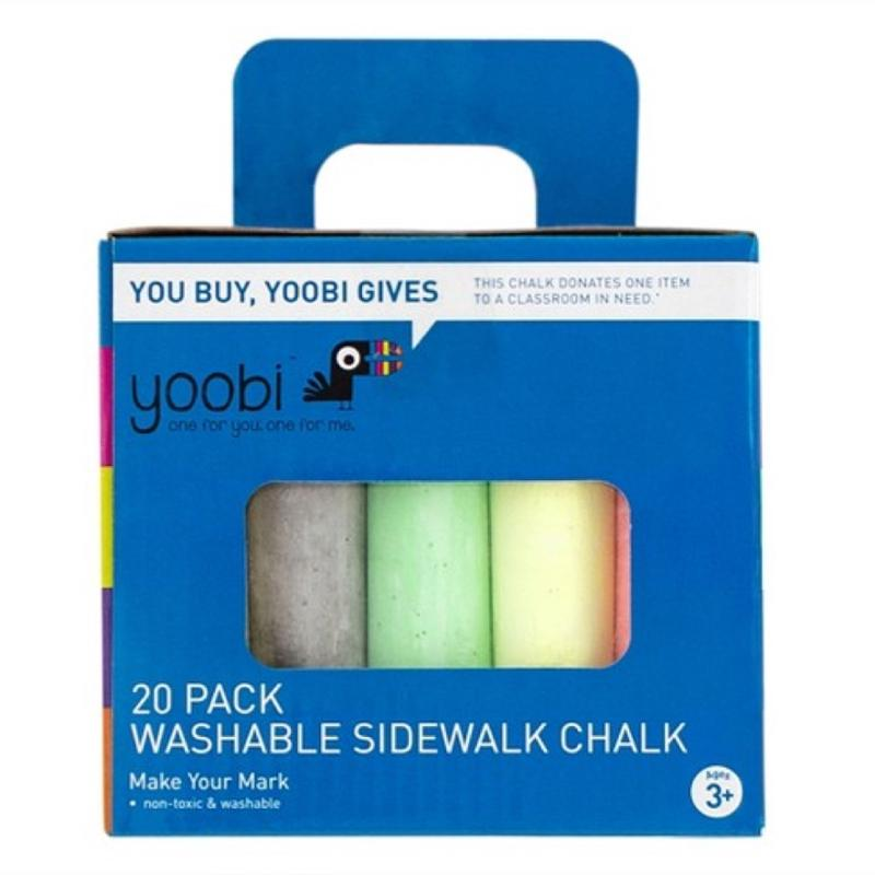 Yoobi 20 Pack Washable Sidewalk Chalk